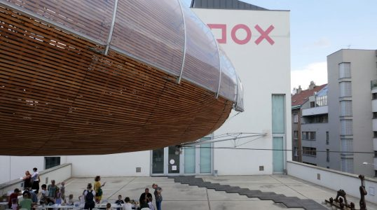 Children's Day at DOX with airship Gulliver hanging overhead
